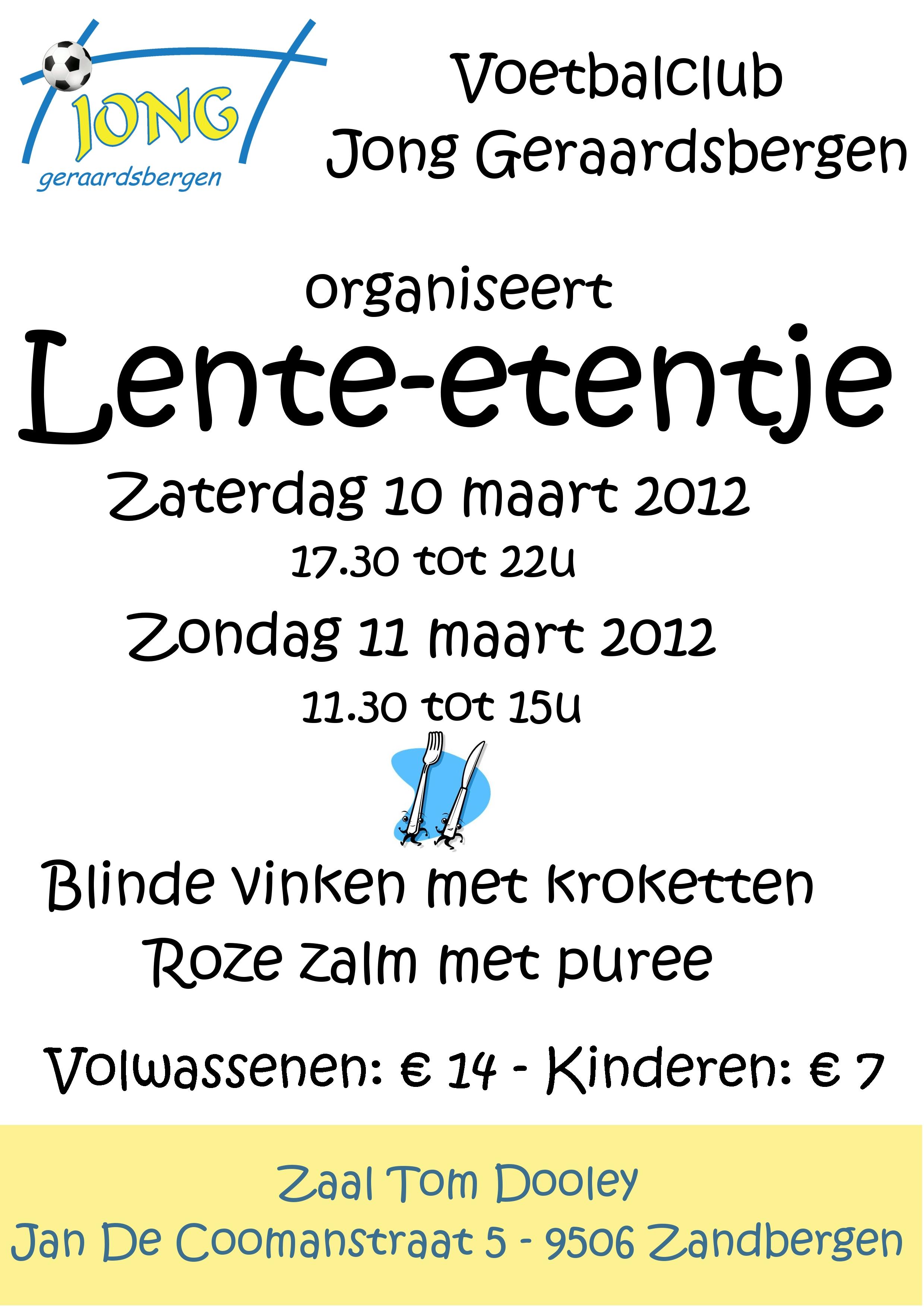 Super Uitnodiging: Lente-etentje op 10 en 11 maart 2012 | VK Jong  KC73